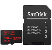 Sandisk Extreme V30 UHS I U3 Class A1 100MBps 667X 128GB microSDXC With Adapter
