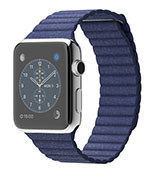 Apple Watch 42mm Stainless Steel Case With Large Bright Blue Leather Loop
