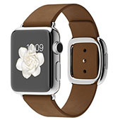 Apple Watch 38mm Stainless Steel Case with Brown Modern Buckle
