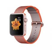 Apple Watch Sport 42mm Rose Gold Aluminum Case Space Orange Anthracite Woven Nylon