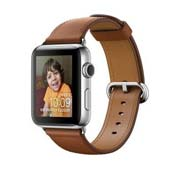 Apple Watch Classic 42mm Stainless Steel Case Saddle Brown Buckle